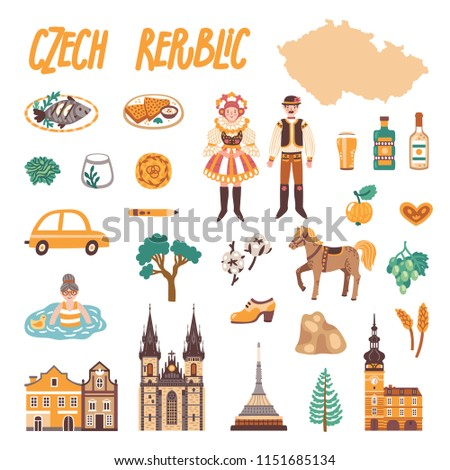 vector icon set of czech