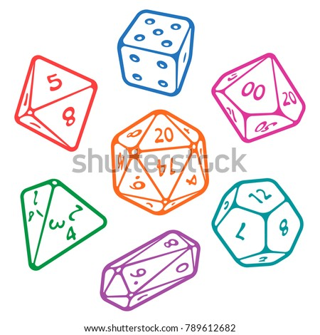 vector icon set of dice for