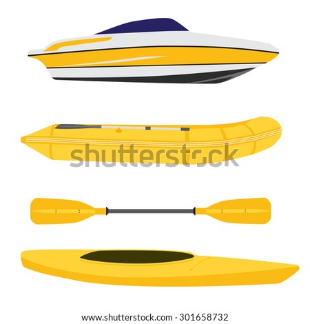 Vector icon set of different boats. Yellow inflatable rubber boat, canoe with oar and luxury yacht