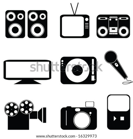 Vector icon set of different types of media. For jpeg version, please see my portfolio.
