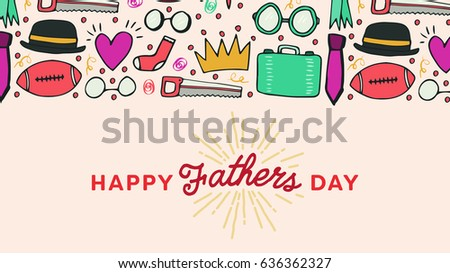 Vector icon set of fathers day greeting card #636362327