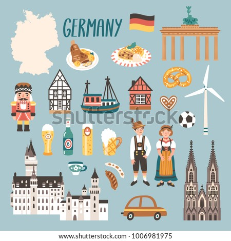 Vector icon set of Germany's symbols. Travel illustration with german landmarks, people, food, beer and symbols. Foto d'archivio ©