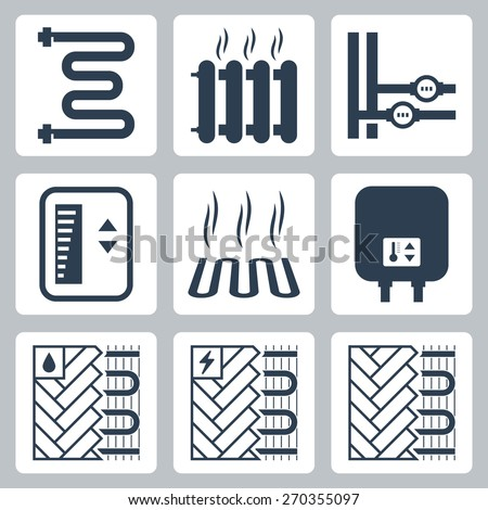 vector icon set of heating and