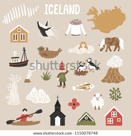 vector icon set of iceland's