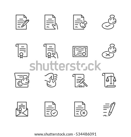 Vector icon set of legal documents in thin line style