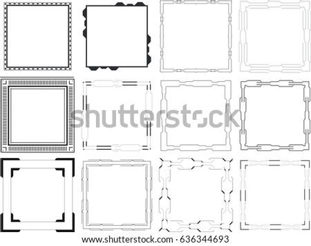 Vector icon set of mirror frames