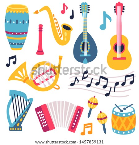 Vector icon set of  misic instruments: guitar, accordion, drum, saxophone, flute, trumpet and musical notes. Scrapbooking collection for music festival. Print with music equipment. Jazz fest.