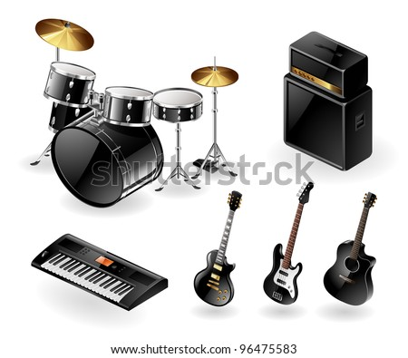 Vector icon set of modern electric musical instruments