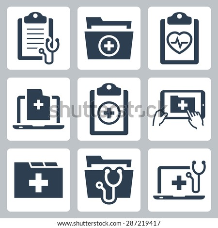 vector icon set of patient