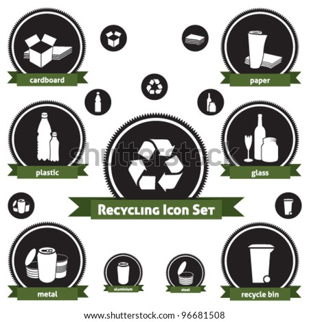 Vector icon set of recyclable materials for waste management labels, publications, infographics, etc.