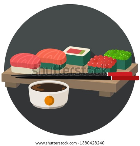 Vector icon set of sushi and sashimi. Asian food sushi on wooden board with sushi chopsticks and soy sauce. Sushi illustration with trout fish, tuna, salmon and caviar in flat minimalism style.