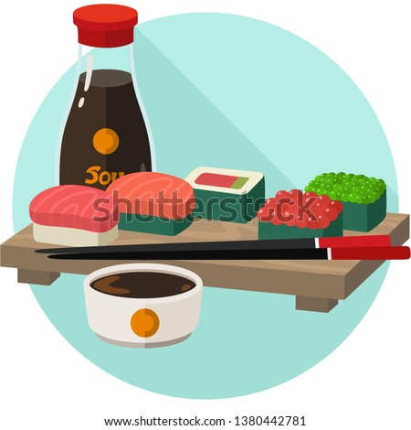 Vector icon set of sushi and sashimi. Asian food sushi on wooden board with sushi chopsticks and soy sauce. Sushi illustration with trout fish, salmon and caviar in flat minimalism style.