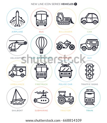 Vector Icon Set of Vehichles Objectified Actions and Terms.