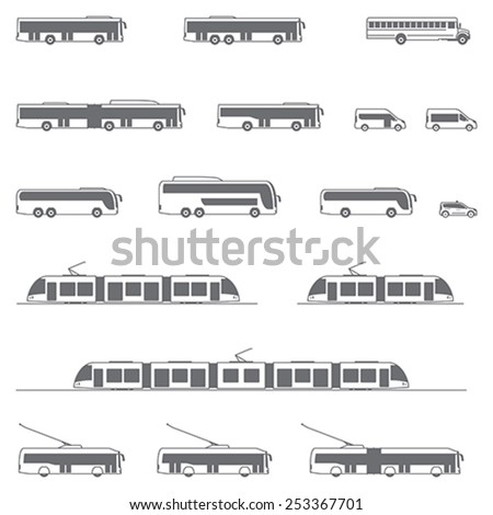 Vector icon set representing public transport vehicles - Bus, tramway, trolleybus