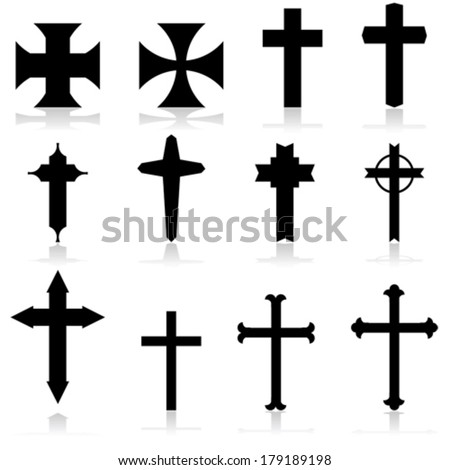 vector icon set showing crosses
