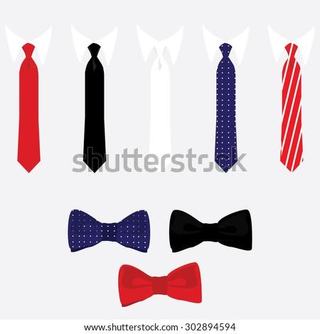 vector icon set tie and bow tie