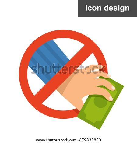 Vector icon stop stealing corruption Foto d'archivio ©