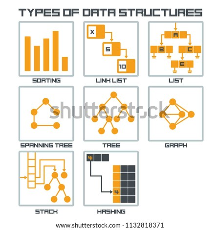 Vector icon structure of data. Illustration of algorithms for types of information classification and data structure.
