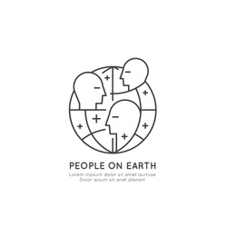 Vector Icon Style Concept Logo for Student Organization, School Union, People Around Earth, Global Benefit for Citizens, Isolated Minimalistic Illustration