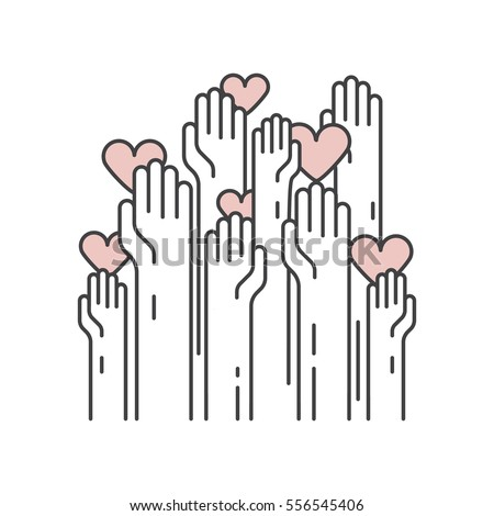 Vector Icon Style Illustration Background Card or Poster Template with Charity and Fundraising Objects. Volunteer Poster. Fundraising Event Brochure Template. Hand helping heart