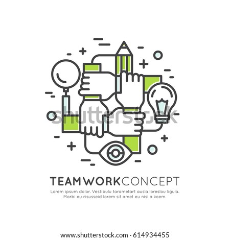 Vector Icon Style Illustration Concept of Cooperation Teamwork, Group, Partnership, Isolated Modern Symbol