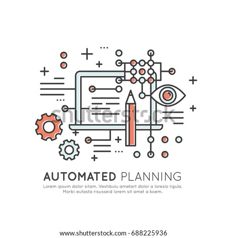 Vector Icon Style Illustration Concept of Machine Learning, Artificial Intelligence, Automated Planning, Technology of Future, Isolated Symbols for Web and Mobile