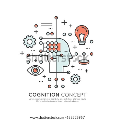 Vector Icon Style Illustration Concept of Machine Learning, Artificial Intelligence, Cognition, Technology of Future, Isolated Symbols for Web and Mobile