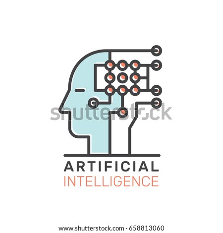 Vector Icon Style Illustration Concept of Machine Learning, Artificial Intelligence, Virtual Reality, EyeTap Technology of Future, Isolated Symbols for Web and Mobile