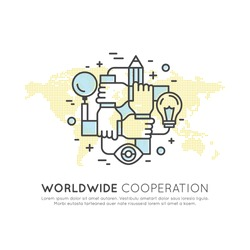 Vector Icon Style Illustration Concept of Worldwide Cooperation Teamwork, Group, Partnership, Isolated Modern Symbol