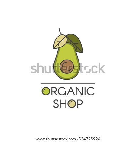 Vector Icon Style Illustration Logo for Organic Vegan Healthy Shop or Store. Green Avocado with Leafs Symbol