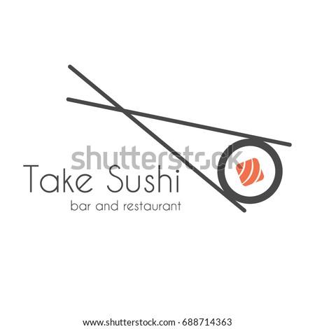 Vector Icon Style Illustration Logo of Asian Street Fast Food Bar or Shop, Sushi, Maki, Onigiri Salmon Roll with Chopsticks, Isolated Minimalistic Object. Sushi design element Isolated on white