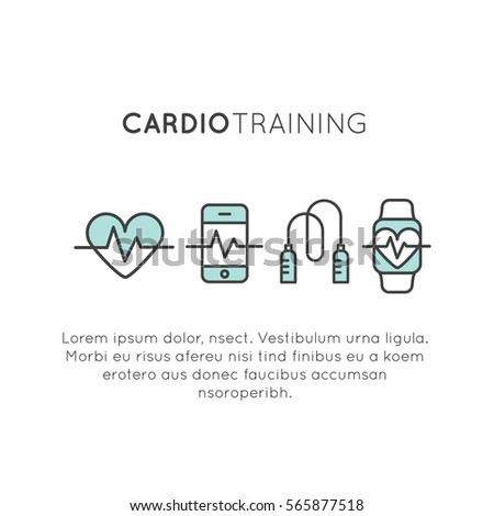Vector Icon Style Illustration Logo of  cardio training, fitness and gym workout object. Healthy lifestyle, Bodybuilding and Heart beat pulse, Mobile Tracking App and Watch, Heart, Skipping Rope