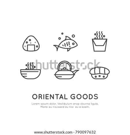 Vector Icon Style Illustration Logo Set of Asian Street Fast Food Bar or Shop, Sushi, Maki, Onigiri Salmon Roll with Chopsticks, Noodles and Tea Kettle, Isolated Minimalistic Neon Window Sign