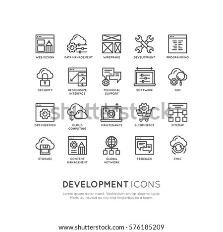 Vector Icon Style Illustration Logo Set  of Web, Mobile and App Development tools and processes,