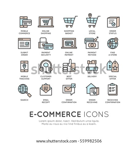 Vector icon style illustration logo thin line shipping services and facilities online shopping, delivery and returns, e-commerce and m-payment concept