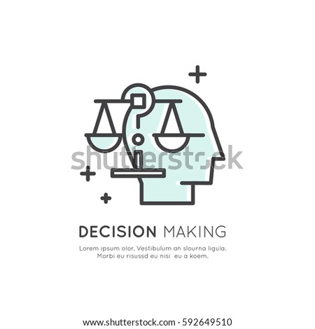 Vector Icon Style Illustration of Analytics, Management, Business Thinking Skill, Decision Making, Isolated Simple Template