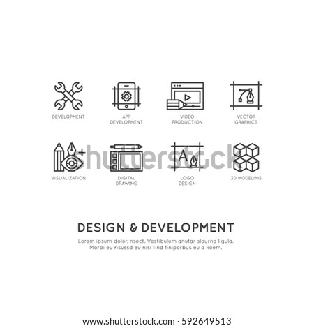 Vector Icon Style Illustration of Design and Development Tools, App, Web and Computer Developing, Isolated Simple Template