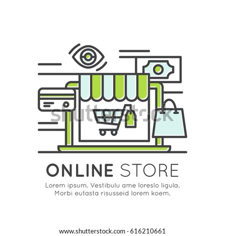 Vector Icon Style Illustration of Online Store Market, Shopping Basket Cart, Buying, Internet Surfing, Best Offer Purchase, Isolated Modern Background for Web and Mobile