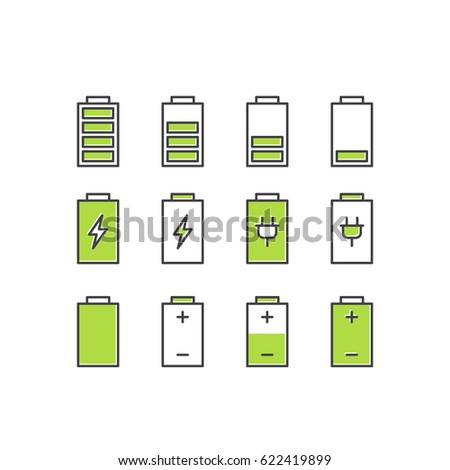 Vector Icon Style Illustration of Power Bank Battery Recharging, Energy Saving Mode, Electric Economy, Isolated Object