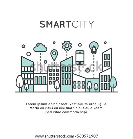 Vector Icon Style Illustration of Smart City Concept and Technology, One Page Web or Mobile Template Composition with Cloud, Buildings, Devices and Smart Solutions