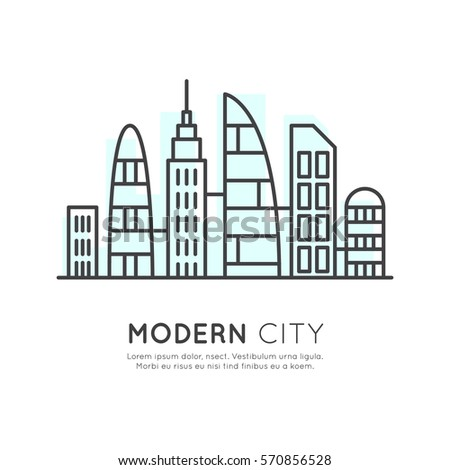 Vector Icon Style Illustration of  Smart Modern City, New Eco District, Skyscraper Town Concept, One page web site background