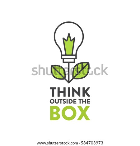 Vector Icon Style Illustration of Think Outside the Box Concept , Imagination, Smart Solution, Creativity and Brainstorm Quote