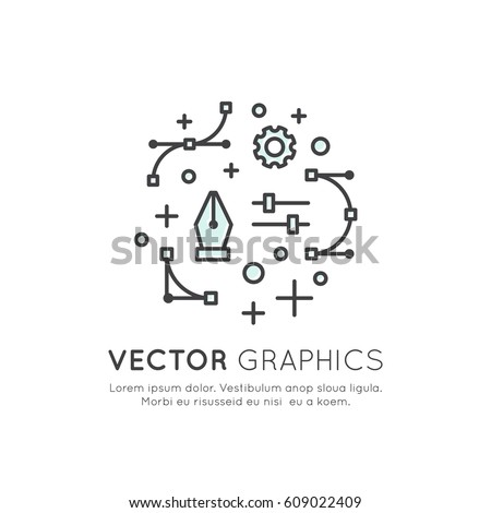 Vector Icon Style Illustration of Vector Graphics and Design Creation Process