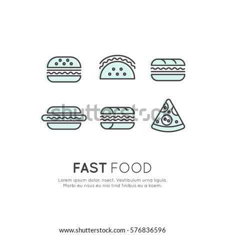 Vector Icon Style Logo Set of Fat Food Items, Hot Dog, Wrap, Pizza, Burrito and Sandwich, Burger, Isolated Linear Design Collection