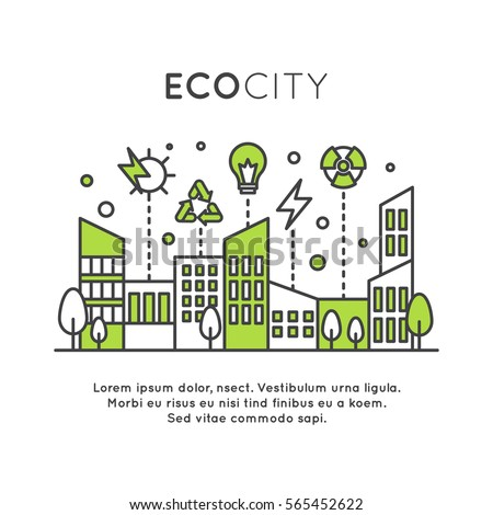 Vector Icon Style One page Web Design Template with environment, renewable energy, sustainable technology, recycling, ecology solutions. Icons for website, mobile app design, green smart city