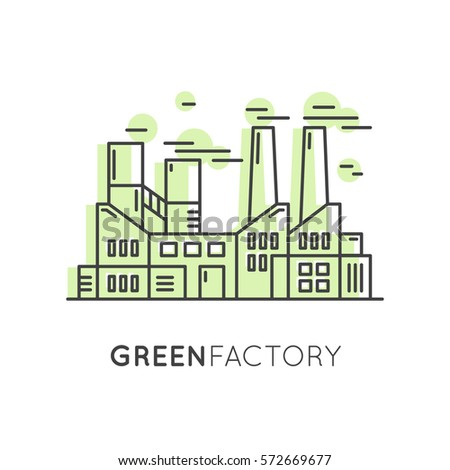 Vector Icon Style One page Web Design Template with thin line icons of environment, renewable energy, sustainable technology, recycling, ecology solutions, eco green factory landscape
