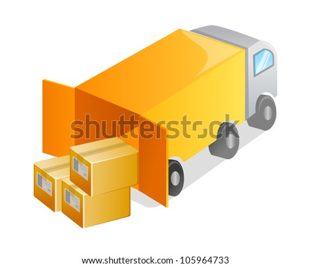 vector icon truck and package