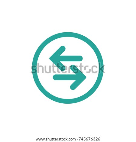 Vector icon. Two blue rounded opposite horizontal arrows in blue circle isolated on white. Flat icon. Exchange icon. Good for web and software interfaces.  Flip flop pictogram.