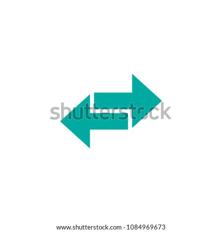 Vector icon. Two blue squared opposite horizontal arrows isolated on white. Flat icon. Exchange icon. Good for web and software interfaces.  Flip flop pictogram.