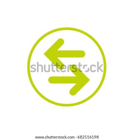 Vector icon. Two green opposite horizontal arrows in green circle isolated on white. Flat icon. Exchange icon. Good for web and software interfaces.  Flip flop pictogram.